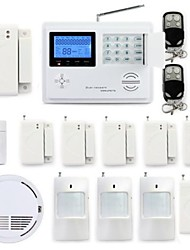 Wireless Gsm Pstn System House Burglar Alarm System Kit Smoke Detector Sos Panic Button