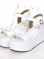 blanco pu cuero zapatos de plataforma de 8 cm dulce lolita