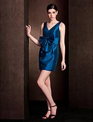 Short/Mini Taffeta Bridesmaid Dress - Ink Blue Sheath/Column V-neck