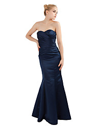 Floor-length Satin Lace-up Bridesmaid Dress - Trumpet / Mermaid Sweetheart Petite with Criss Cross
