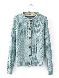 Women's Blue/Gray Cardigan , Casual Long Sleeve