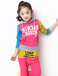 Children's Fashionable Joker Letters Joining Together Fleece Two Piece Clothing Set