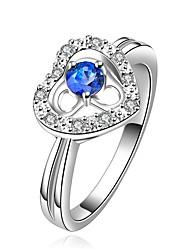 proposer des parties de la mode contracté brille pierres blanches de coeur bleu de la mer 925 bague en argent