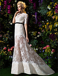 Lan Ting A-line/Princess Wedding Dress Sweep/Brush Train Bateau Lace
