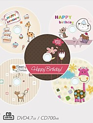 Personalized CD-R/DVD-R Recordable Disc Birthday Pattern Different Designs Magic Gift (Set of 5)