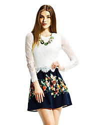 OSA Women's Long Sleeves Splicing Lace A-Line Dress