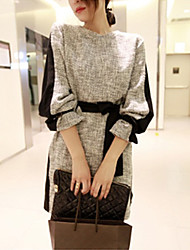 Kamengsi Women's Fashion Casual Splicing Fitted Dress