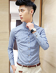 Men's Solid Casual Shirt,Cotton Long Sleeve Blue / Pink / Gray