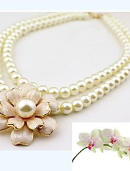Necklace Choker Necklaces / Pearl Necklace Jewelry Wedding / Party / Daily / Casual Fashion Pearl / Alloy / Imitation Pearl Silver 1pc
