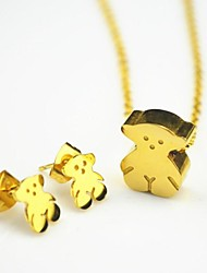 Toonykelly Fashionable Cute Bear  Stainless Steel with Crystal(Necklace with Earring)Jewelry Set