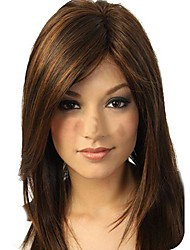 женские природные модное среднего темно-коричневые прямые волосы парики
