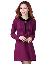 plus size colarinho de lã de manga comprida vestido das mulheres