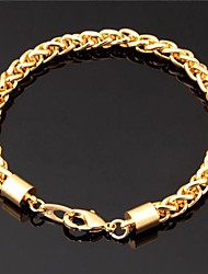 InStyle Men's Women's Cool Bracelet 18K Chunky Gold Plated Twisted Link Chain Bangle for Men Women 7MM 21CM