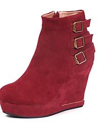 scarpe da donna punta rotonda stivali piattaforma tacco a zeppa caviglia più colori disponibili