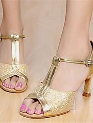 Customizable Women's Dance Shoes Latin Paillette Customized Heel Silver/Gold