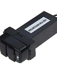12v 2.1a dual usb cargador de coche gps móvil toma de corriente de puerto para mitsubishi (negro)