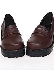 marrón pu clásico plataforma de 5 cm de cuero&zapatos tradicionales lolita