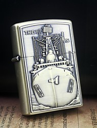 Personalized Engrave Ship Pattern Gold Metal Oil Lighter