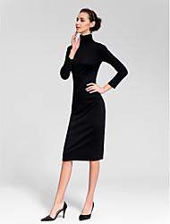 Homecoming Cocktail Party Dress - Black Sheath/Column High Neck Tea-length Cotton