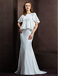 LAN TING BRIDE Sheath / Column Wedding Dress See-Through Court Train Jewel Satin with Button