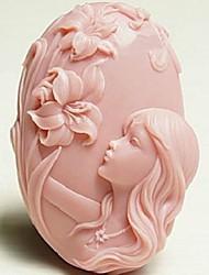красивая девушка цветок в форме помады торт шоколадный силиконовые формы торт украшение инструменты, l10.2cm * w7.2cm * h3.3cm