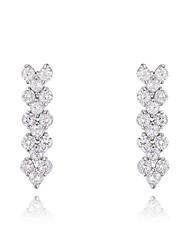 cadeaux roxi classiques véritables cristaux autrichiens glace mode de zircon blanc boucles d'oreilles de femmes (1 paire)