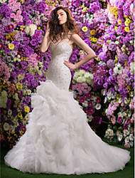 LAN TING BRIDE Fit & Flare Wedding Dress Sparkle & Shine Court Train Sweetheart Organza with Beading Pick-Up