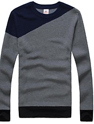 Men's British Style Tri-Color Stitching Knit Sweater
