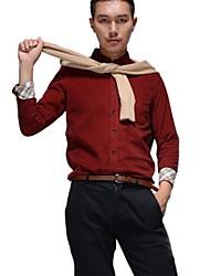 Men's Button Down Collar Casual Long Sleeve Corduroy Shirt