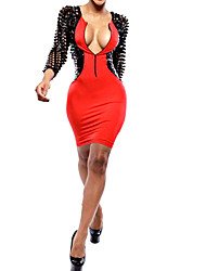 moda sexy vestido novo emenda quente das mulheres