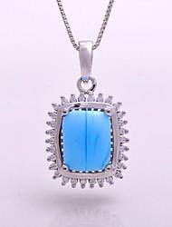 AS 925 Silver Jewelry  Azure jade stone comfortable Pendant