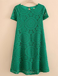 Women's Solid/Lace Blue/Black/Green Dress, Casual Round Neck Short Sleeve Loose