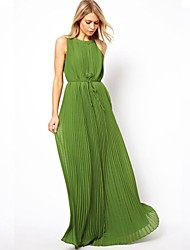 Women's Party/Cocktail A Line Dress,Solid Crew Neck Maxi Sleeveless Green Polyester Spring / Summer / Fall