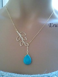 Eruner® Branch and Turquoise Lariat Necklace In White Gold, Branch Necklace, Turquoise Necklace, Turquoise Pendant