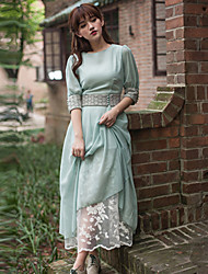 vintage eine Linie Falten ts Frauen schwingen Minikleid