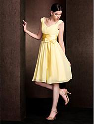 Vestido de Madrinha Linha-A Decote em V Coquetel Chiffon/Cetim Esticado