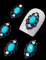 10pcs  Oval Blue Gem With Black Hollow Line Alloy Finger Tips Accessories Nail Art Decoration