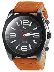 JUBAOLI® Men's Round Dial Military Khaki Color PU Band Quartz Wrist Watch (Assorted Colors) Cool Watch Unique Watch