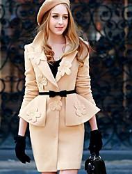 Pink Doll® Women's Slim Flower Long Coat