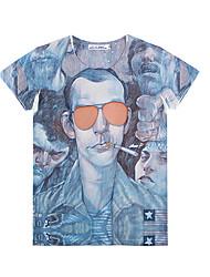 tout t-shirt de motif de caractère de correspondance des hommes OUL