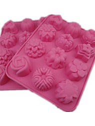 12 Hole Flowers And Plants Shape Cake Ice Jelly Chocolate Molds,Silicone 21.5×16.2×2.5CM(8.5×6.4×1.0INCH)