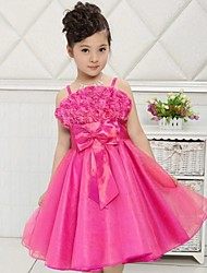 Ball Gown / Princess Knee-length Flower Girl Dress - Satin / Tulle Sleeveless Spaghetti Straps with