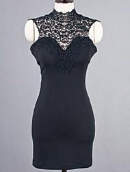 De las mujeres Corte Bodycon Vestido Casual Retazos Mini Escote Chino / Cuello Alto Algodón / Encaje