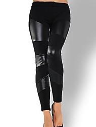 Для женщин Полиуретановые Legging,Лакированная кожа Вискозное волокно Ткань средней плотности