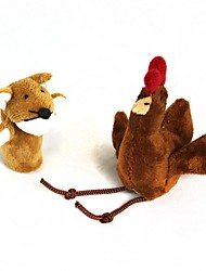 pollo manga dedo + zorro muñeco de peluche (2 piezas)