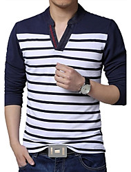 Men's V-Neck Long Sleeved Striped T-Shirt