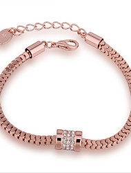 Fashion Women's Snake Bones White Rhinestones Rose Gold Plated Tin Alloy Chain & Link Bracelet(Rose Gold)(1Pc)