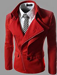 Badbo Men's Asymmetrical Coats & Jackets , Cotton Blend Long Sleeve Casual Pocket Fall