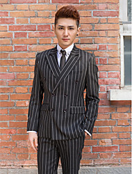 Black&White Stripes Slim Fit Tuxedo In Polyester
