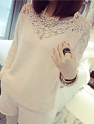 E9 Women's Fashion Solid Color Long Sleeve Lace Sweater